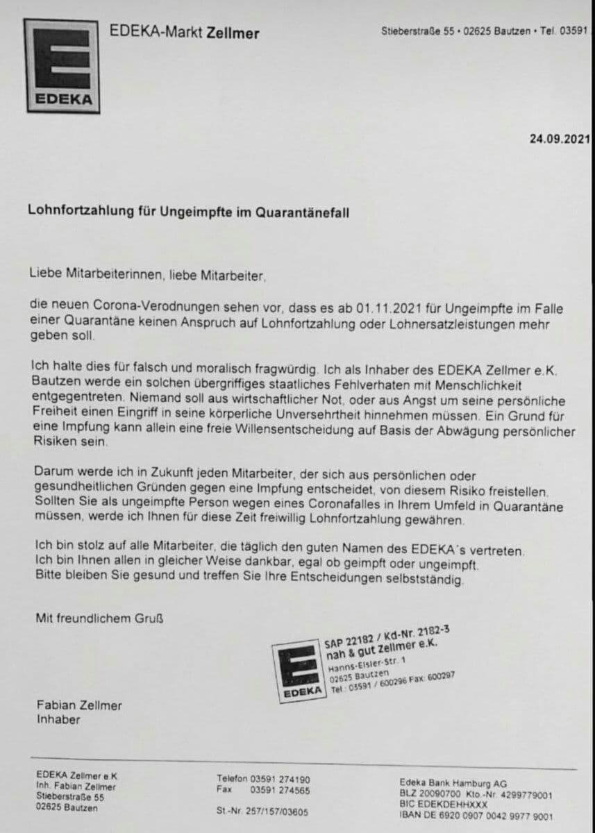 """edeka-markt-zellmer-spricht-sich-auch-fuer-seine-""""ungeimpften""""-mitarbeiter-aus"""